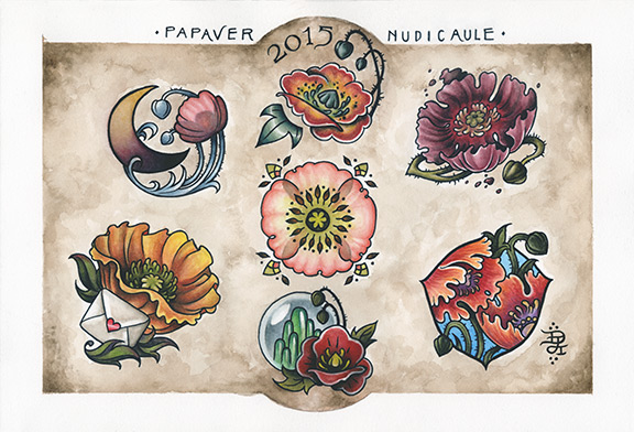 Poppies Tattoo Flash Set